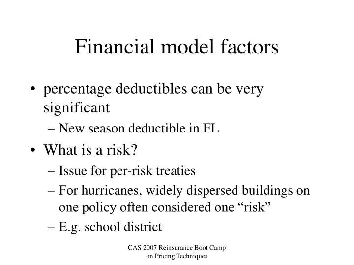 Financial model factors