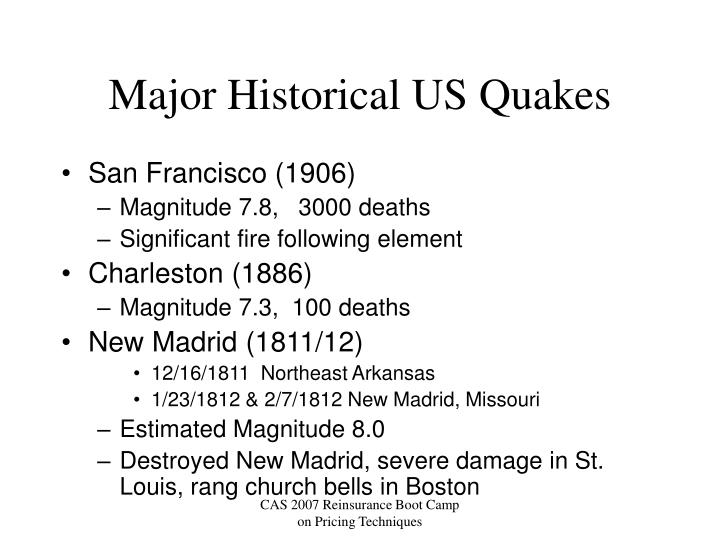 Major Historical US Quakes