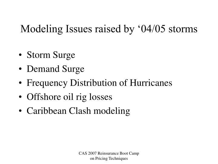 Modeling Issues raised by '04/05 storms