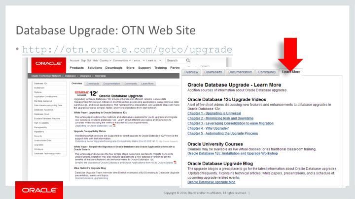 Database Upgrade: OTN Web Site