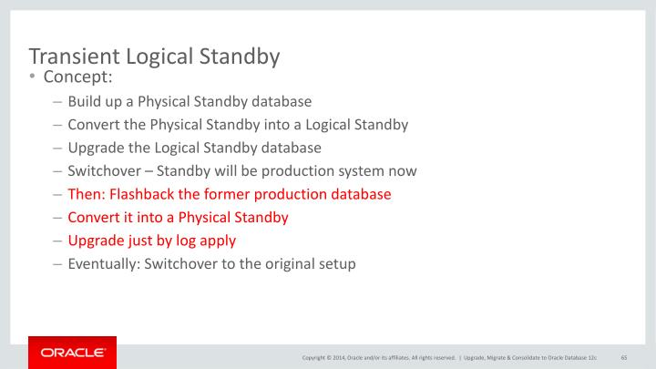 Transient Logical Standby