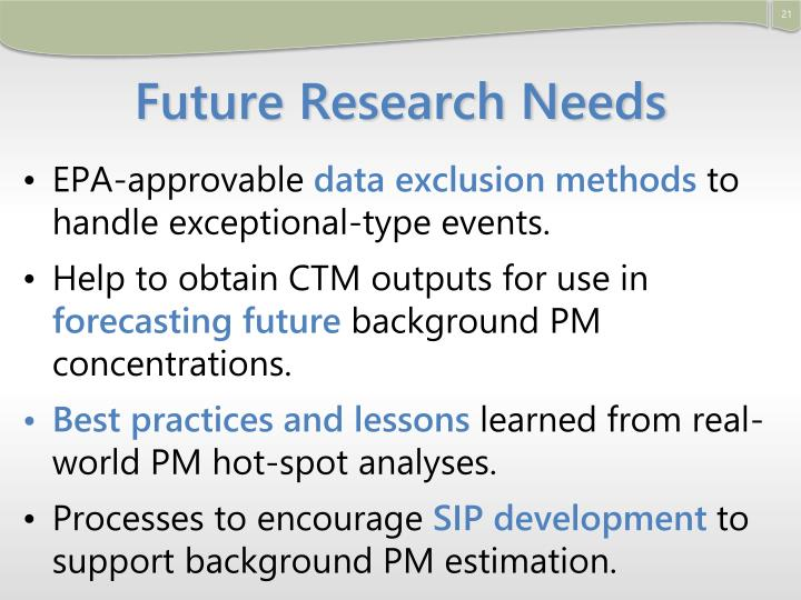 Future Research Needs