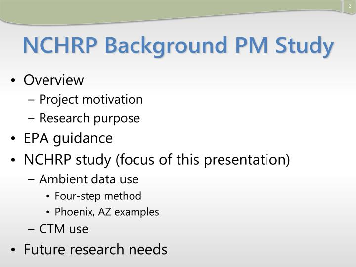 Nchrp background pm study