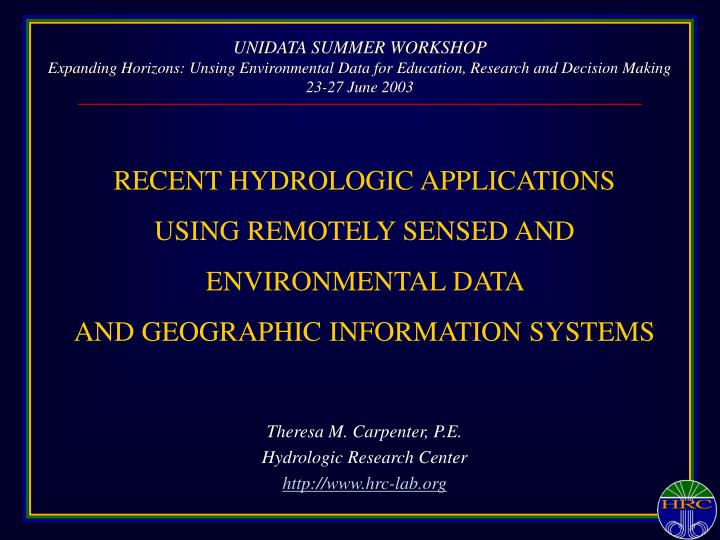 UNIDATA SUMMER WORKSHOP