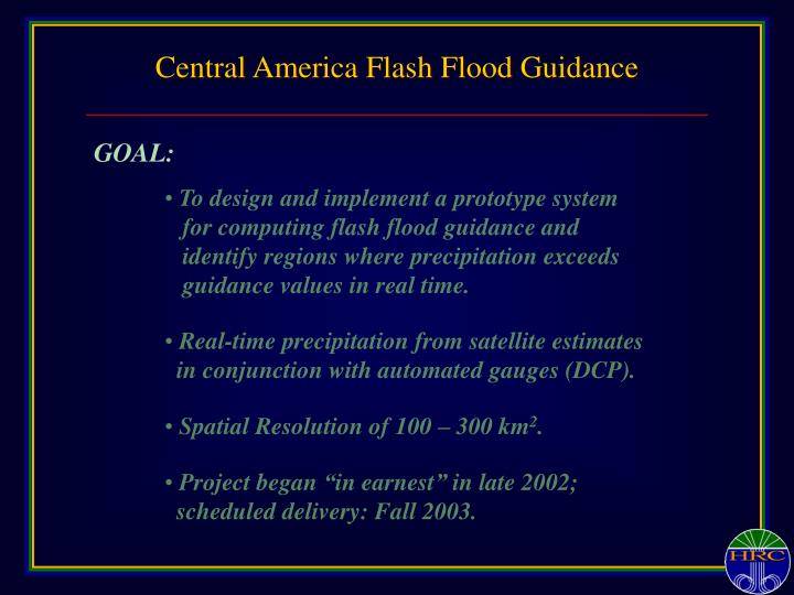 Central America Flash Flood Guidance