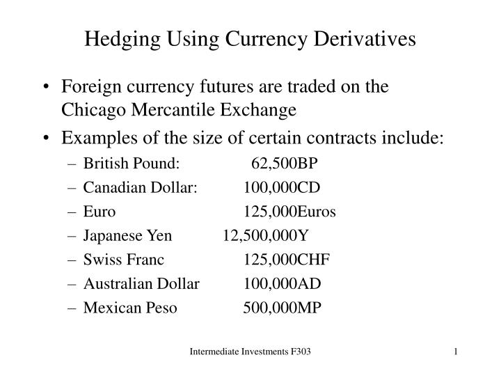 hedging using currency derivatives n.