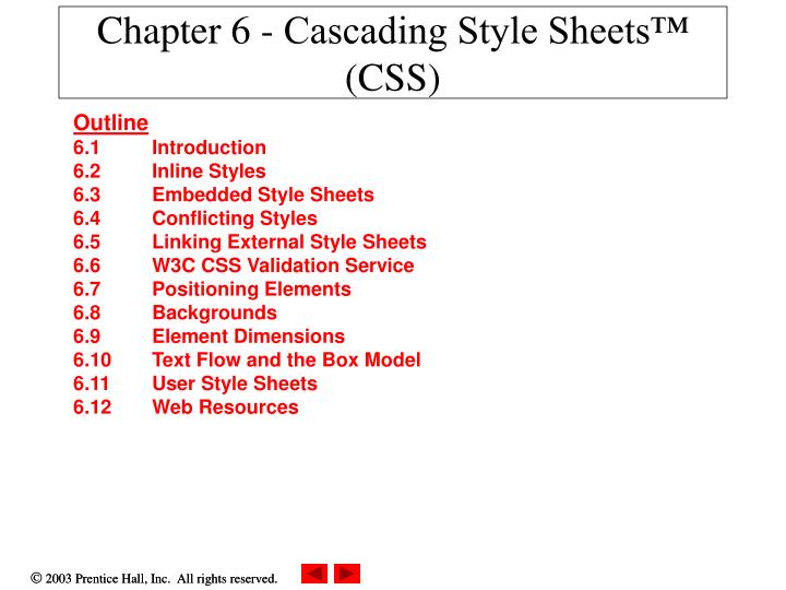 chapter 6 cascading style sheets css n.