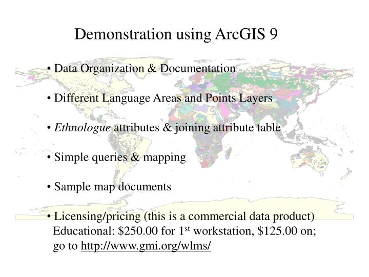 Demonstration using ArcGIS 9
