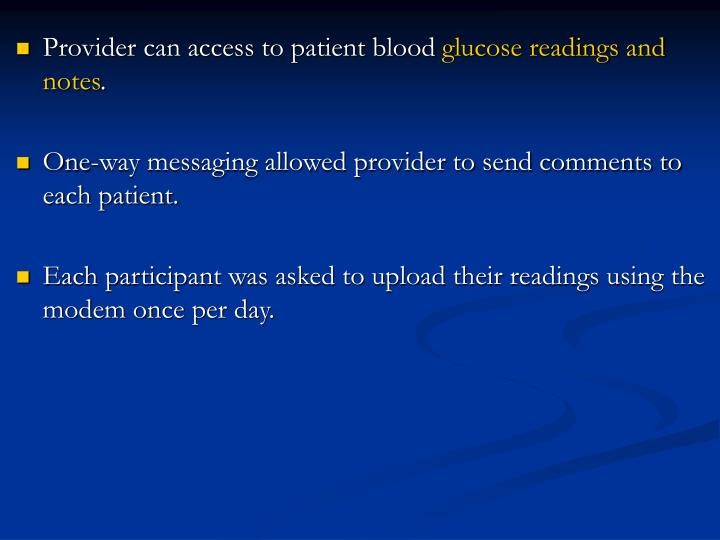 Provider can access to patient blood