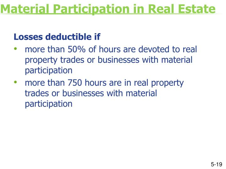 Material Participation in Real Estate