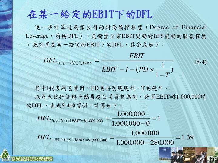 進一步計算這兩家公司的財務槓桿程度(Degree of Financial Leverage,簡稱DFL),是衡量企業EBIT變動對EPS變動的敏感程度,先計算在某一給定的EBIT下的DFL,其公式如下: