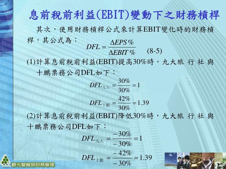 其次,使用財務槓桿公式來計算EBIT變化時的財務槓桿,其公式為: