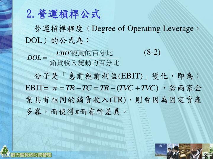 營運槓桿程度(Degree of Operating Leverage,DOL)的公式為: