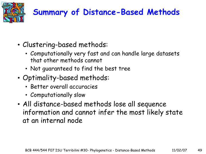 Summary of Distance-Based Methods