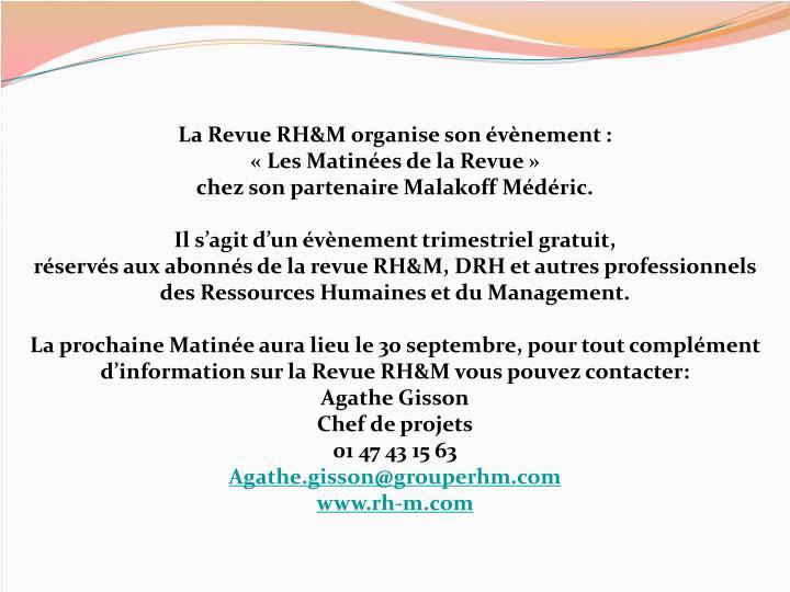 La Revue RH&M organise son évènement :