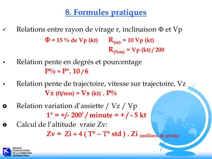 8. Formules pratiques