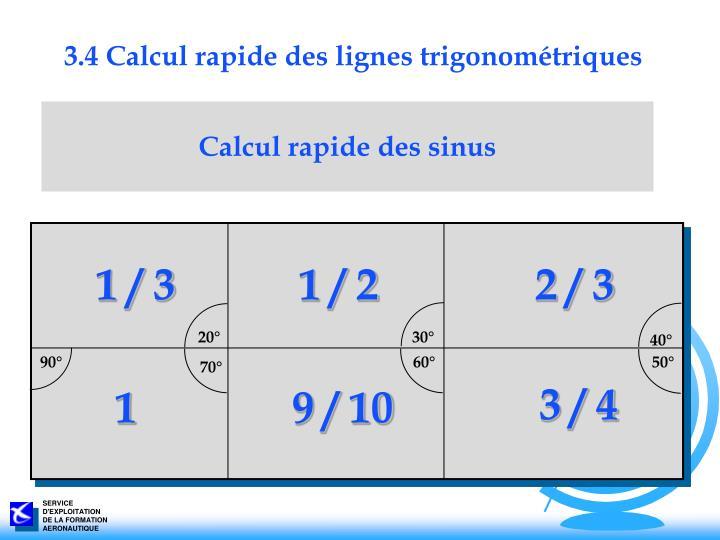 3.4 Calcul rapide des lignes trigonométriques