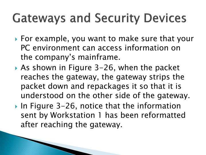 Gateways and security devices1
