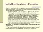 health benefits advisory committee