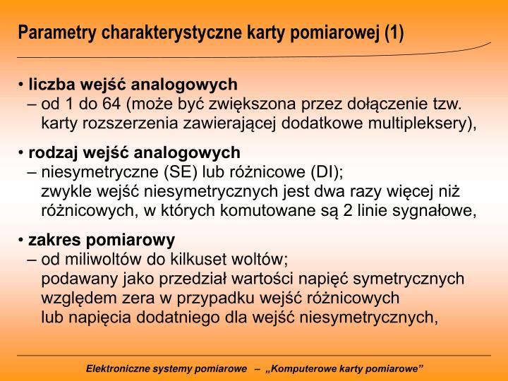 Parametry charakterystyczne karty pomiarowej (1)