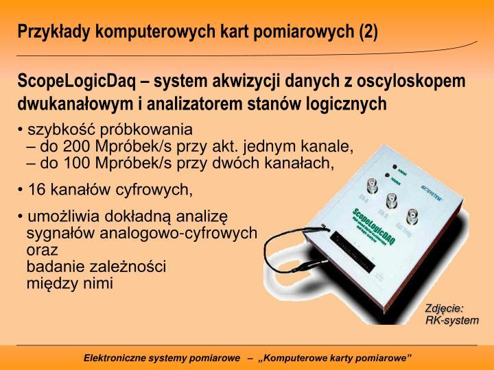 Przykłady komputerowych kart pomiarowych (2)