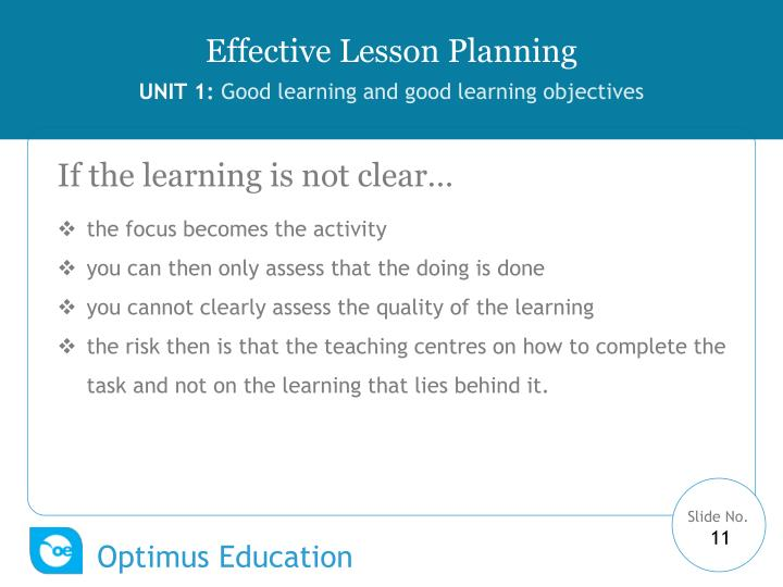 If the learning is not clear…