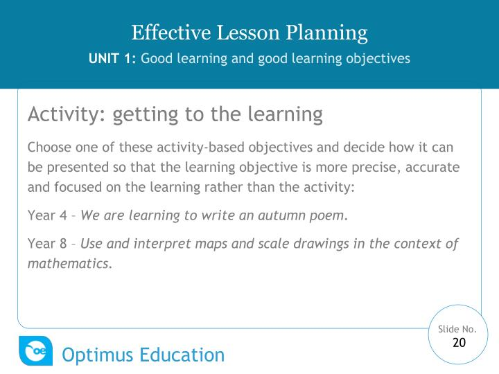 Activity: getting to the learning