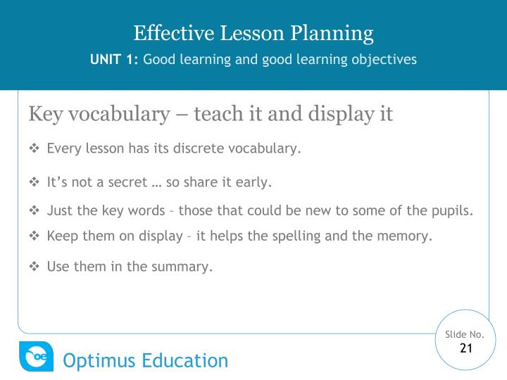 Key vocabulary – teach it and display