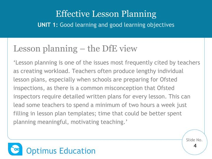 Lesson planning – the