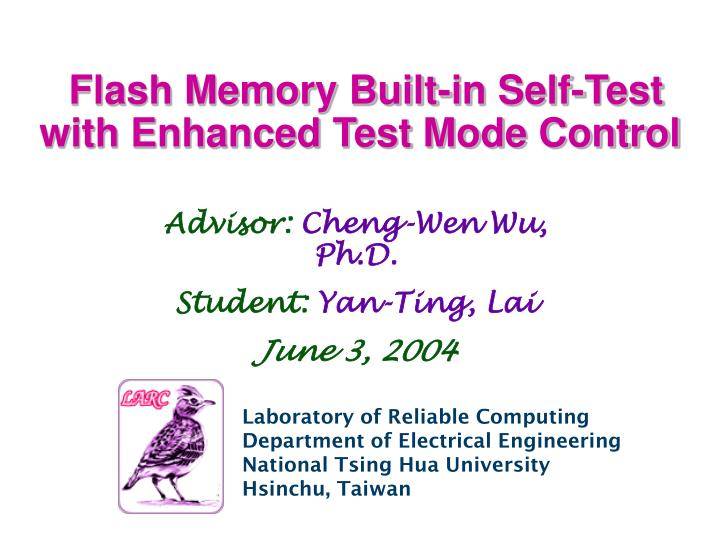 flash memory built in self test with enhanced test mode control n.