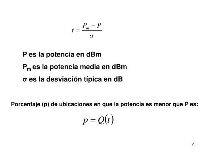 P es la potencia en dBm