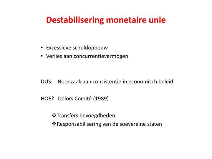 Destabilisering monetaire unie