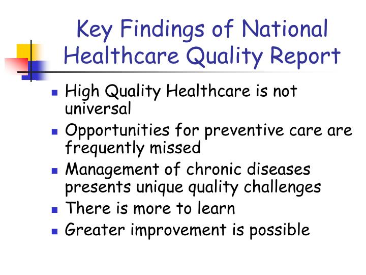 Key Findings of National Healthcare Quality Report