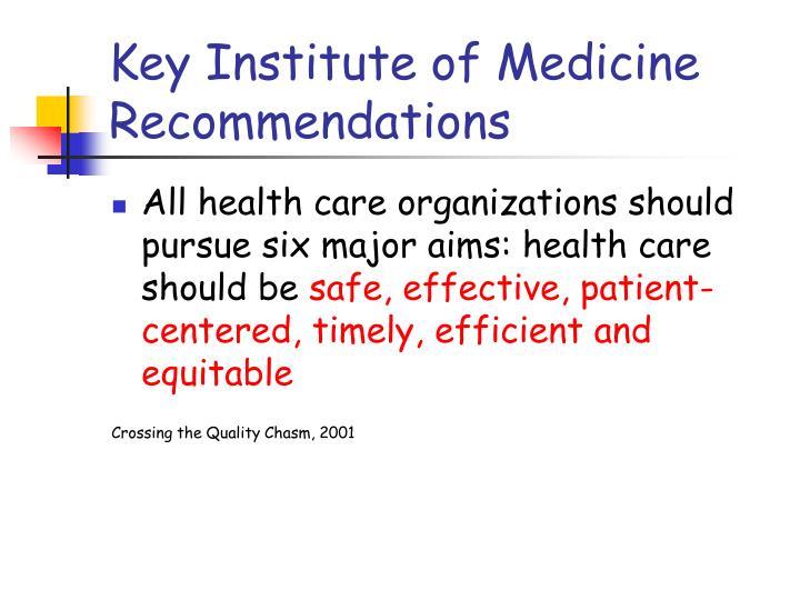 Key Institute of Medicine Recommendations
