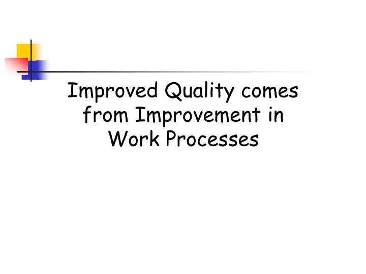 Improved Quality comes from Improvement in