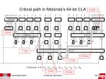 critical path in motorola s 64 bit cla
