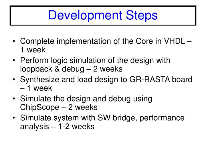 Complete implementation of the Core in VHDL – 1 week