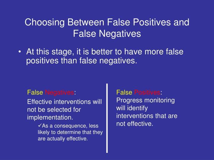 Choosing Between False Positives and False Negatives