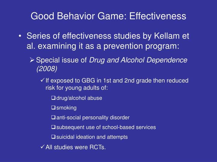 Good Behavior Game: Effectiveness