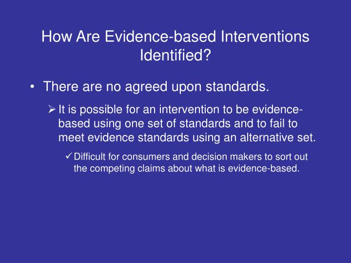 How Are Evidence-based Interventions Identified?