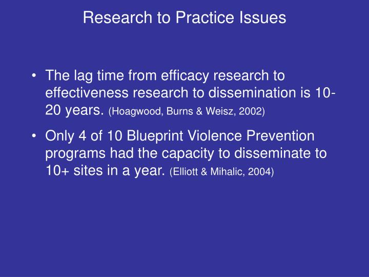 Research to Practice Issues