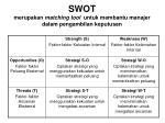 swot merupakan matching tool untuk membantu manajer dalam pengambilan keputusan
