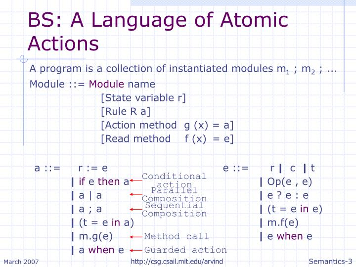 Bs a language of atomic actions