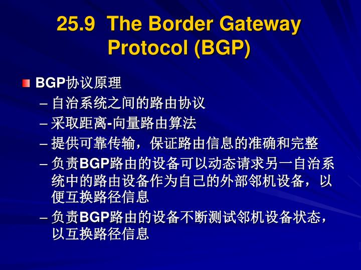 25.9  The Border Gateway Protocol (BGP)
