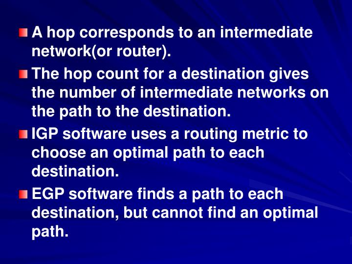 A hop corresponds to an intermediate network(or router).