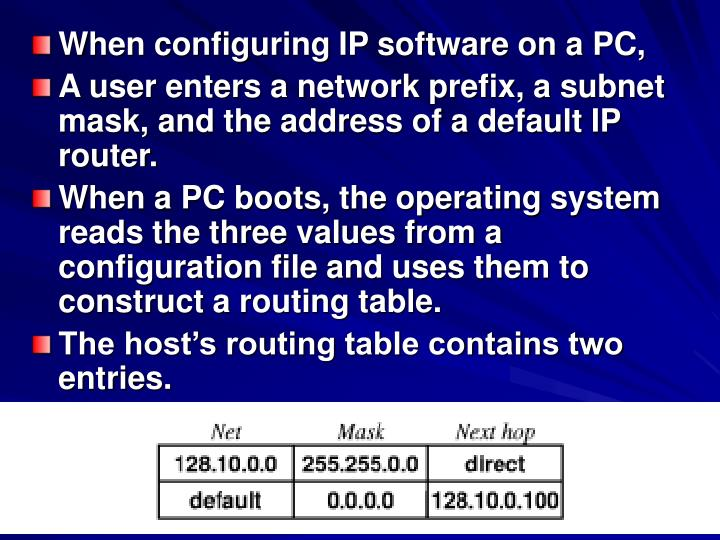 When configuring IP software on a PC,