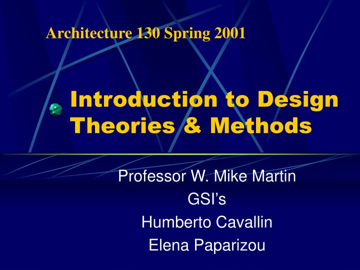 introduction to design theories methods n.