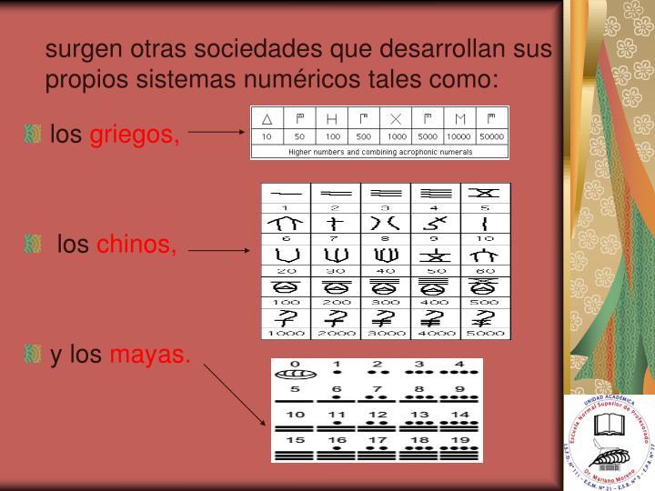 surgen otras sociedades que desarrollan sus propios sistemas numéricos tales como: