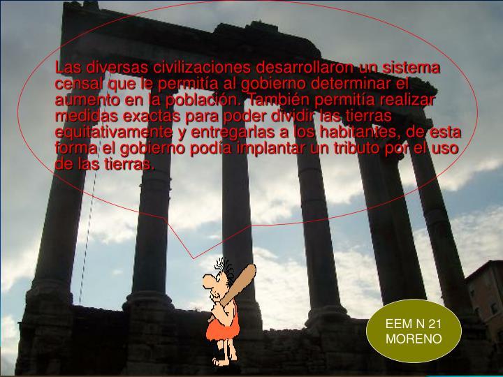 Las diversas civilizaciones desarrollaron un sistema censal que le permitía al gobierno determinar el aumento en la población. También permitía realizar medidas exactas para poder dividir las tierras equitativamente y entregarlas a los habitantes, de esta forma el gobierno podía implantar un tributo por el uso de las tierras.