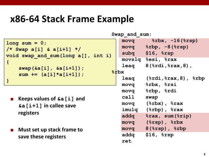 x86-64 Stack Frame Example